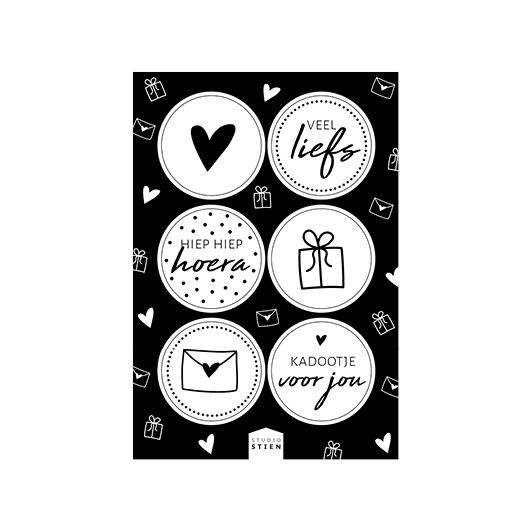 Stickervel zwart wit