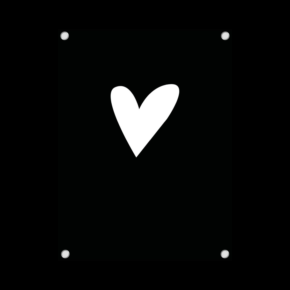tuinposter hart zwart